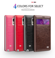 QIALINO small view window genuine leather flip cover for samsung galaxy note 4 for N9100 (non smart version) 5.7 inches cover