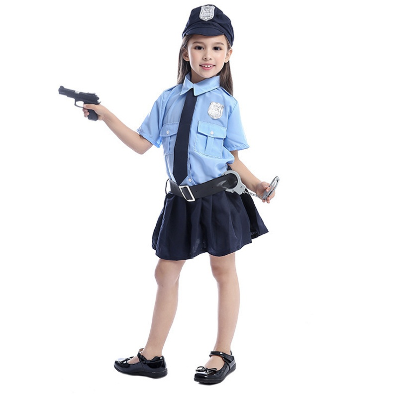 Cute Baby Girls Tiny Cop Police Officer Playtime Cosplay Uniform Kids Child Profession Halloween Costume image