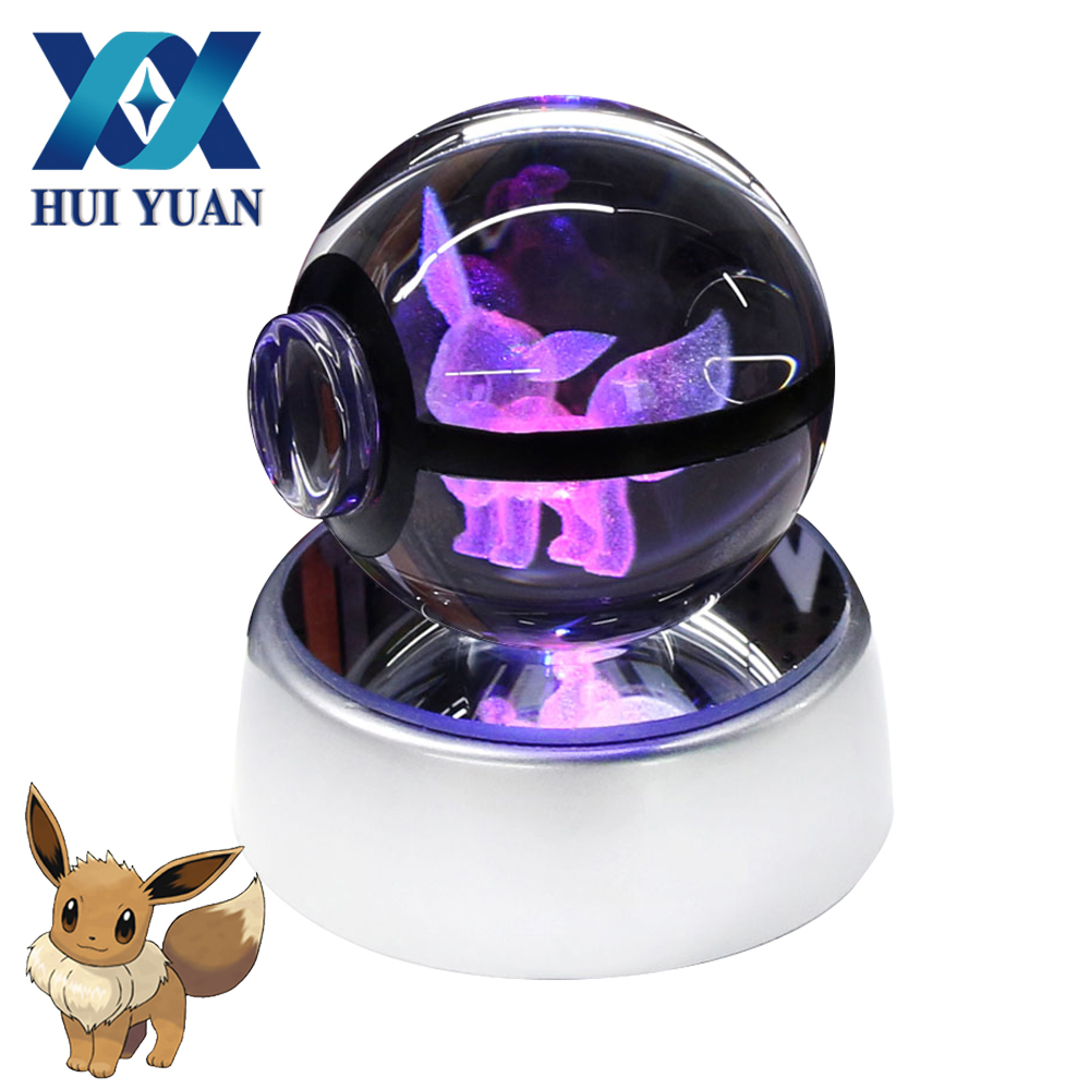 Eevee 5CM Pokeball Crystal ball Desktop Decoration Light Glass Ball LED Colorful Base Lamp for Decorative Gift by HUI YUAN Brand star wars millennium falcon 3d lamp led remote control night light usb decorative table lamp interesting gift hui yuan brand