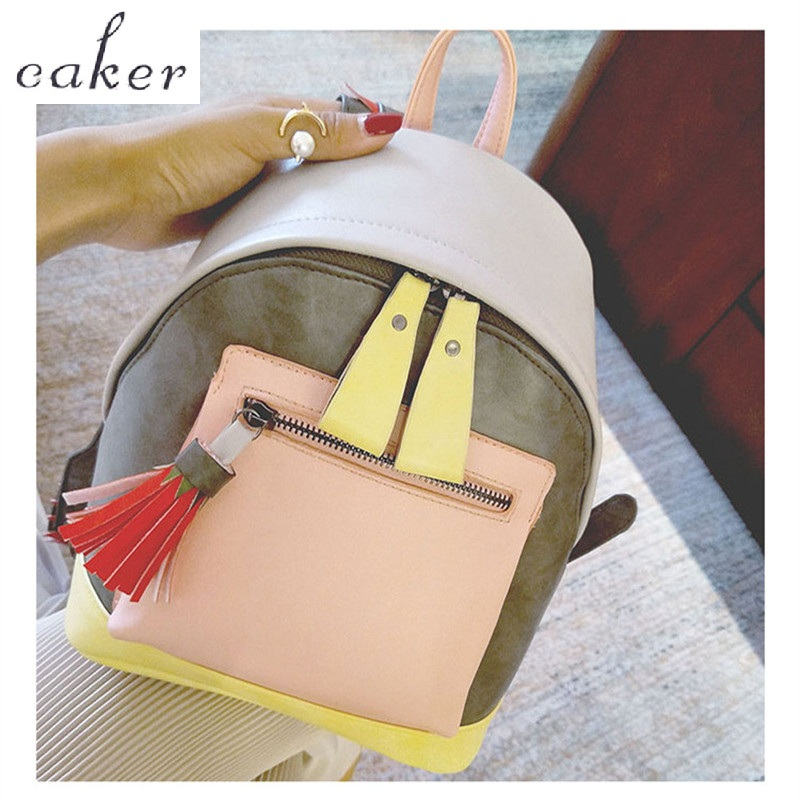 Caker Brand 2017 Women PU Large Backpack Lady Pink Tassel Panelled School Bags Female High Quality