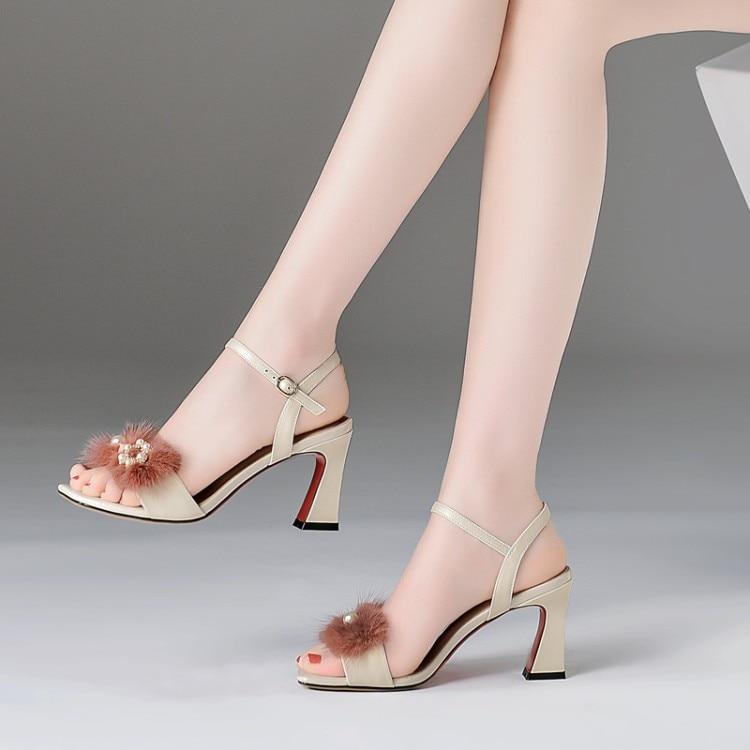 rosado Moda Vestido Zapatos Verano Correa {zorssar} Abierta Fiesta Sandalias Tamaño Piel Tobillo Gran Punta De Para 43 Tacón Alto Beige Mujer 6dIqd4Rwxn