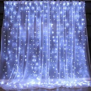 Image 5 - 3X3M 300 LED Solar Curtain String Lights Waterproof 8 Modes Outdoor Garden Patio Decorations lights for Wedding Party Christmas