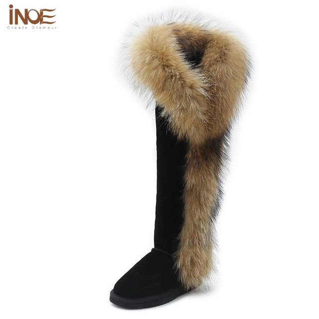 a48153b87eb INOE Winter Women Tall Boots Black Leather Over the Knee High Boots For  Women Leather Boot Sheepskin Fox Fur Snow Shoes Size 12