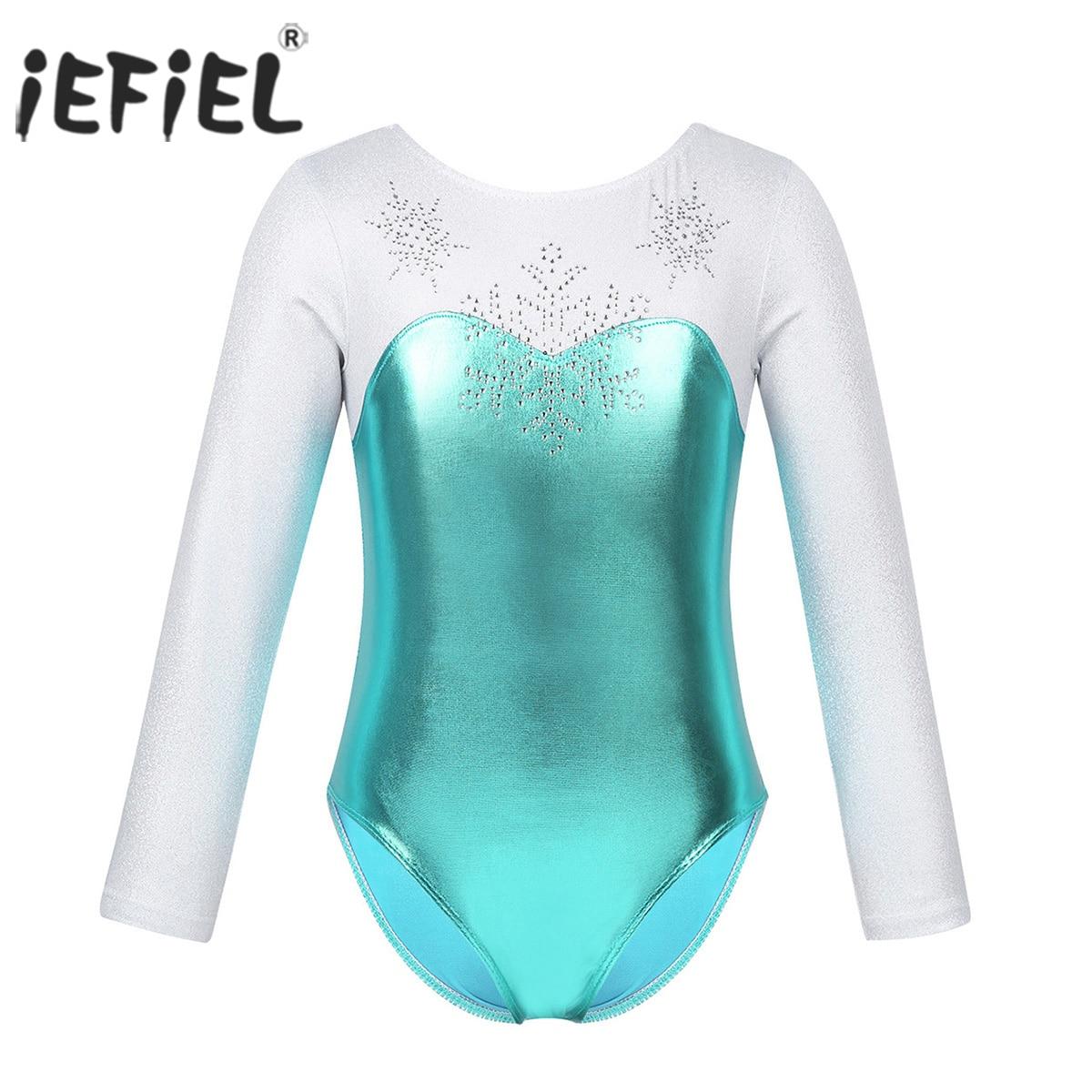 iEFiEL Kids Girls Dance Sports Outfits Ballet Gymnastics Leotard Crop Tops Shirt with Booty Short Dance Costume