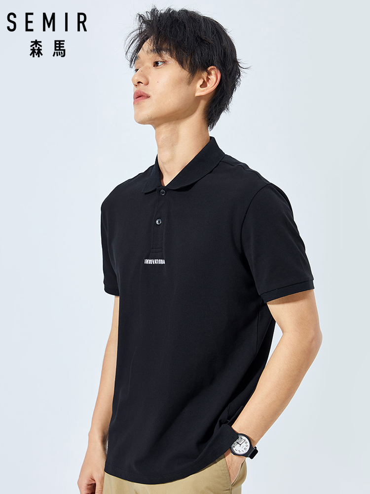 SEMIR 2019 summer new short-sleeved   polo   shirt men shirt HK style simple lapel letter black   POLO   for students