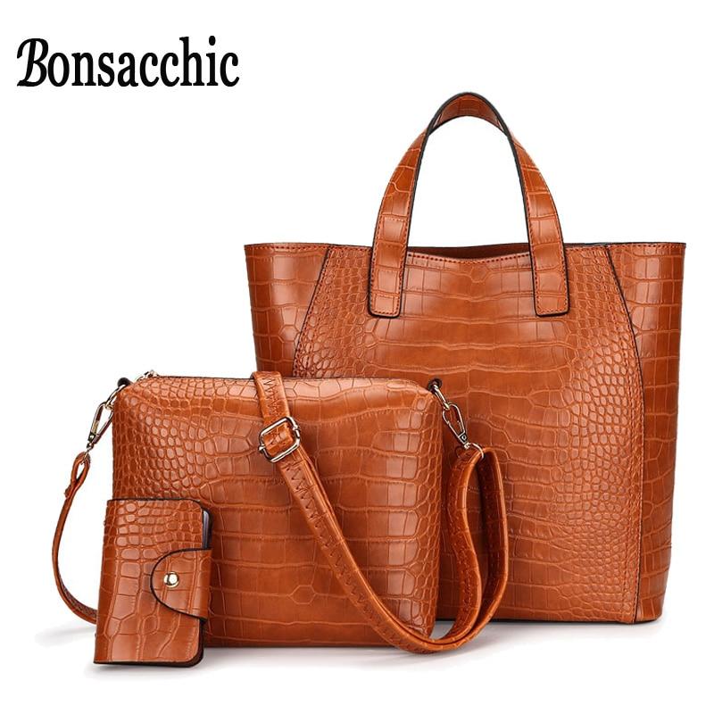 4bf2e58ce127 Bonsacchic 3pcs Brown Leather Handbag Set Luxury Handbags Women Bags  Designer Tote Bag Set Small Crossbody