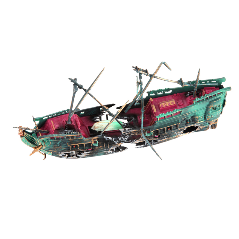 Buy sunk wreck boat aquarium ornament for How to ship fish