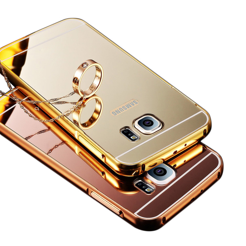 Luxury Mirror coque For Samsung Galaxy S7 Mirror Aluminum Case Metal Acrylic Back Cover For Samsung Galaxy S7 Galaxy S7 edge P20