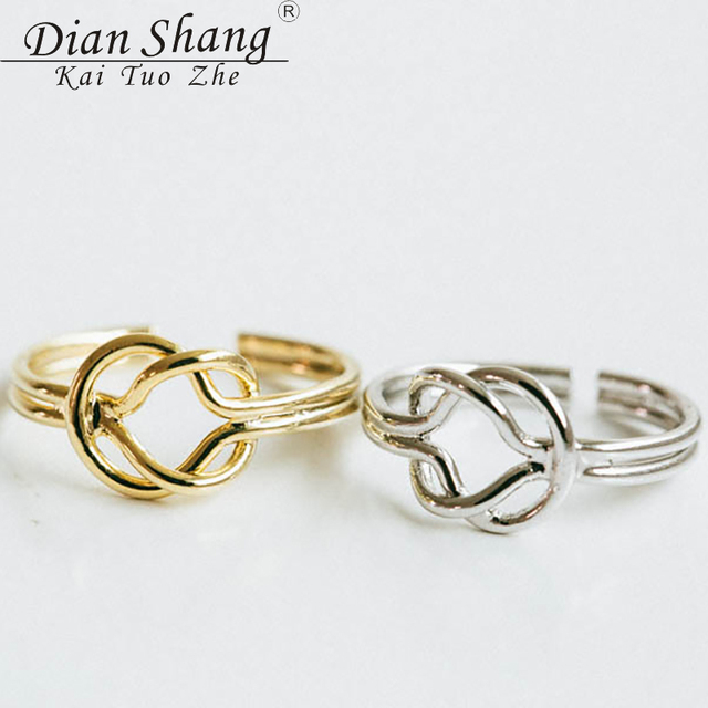 0f9ee29ecdf4e US $1.5 |DIANSHANGKAITUOZHE Bague Algerian Love Knot Promise Rings For  Couples Gold Silver Anel Medusa Ring Anillos Mujer Men Jewelry BFF-in Rings  ...