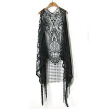 LEQEMAO Spring Lace Vest Coat Women Bohemian Style Tassel Women Vest Summer Cotton Vests Jacket Open Stitch Lace Tops Clothing