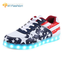 2017 Fashion US Flag Luminous 7 Colors Light Led Shoes Summer Casual Dark Night Bright Unisex