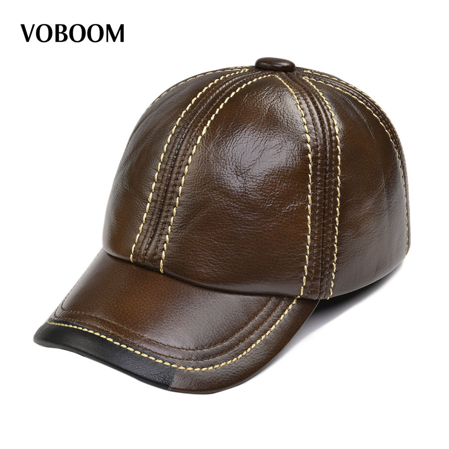 VOBOOM Brand New Genuine Leather Baseball Cap Spring Winter Men Women Trucker Moto Bones Hat 119 hl083 new new fashion men s scrub genuine leather baseball winter warm baseball hat cap 2colors