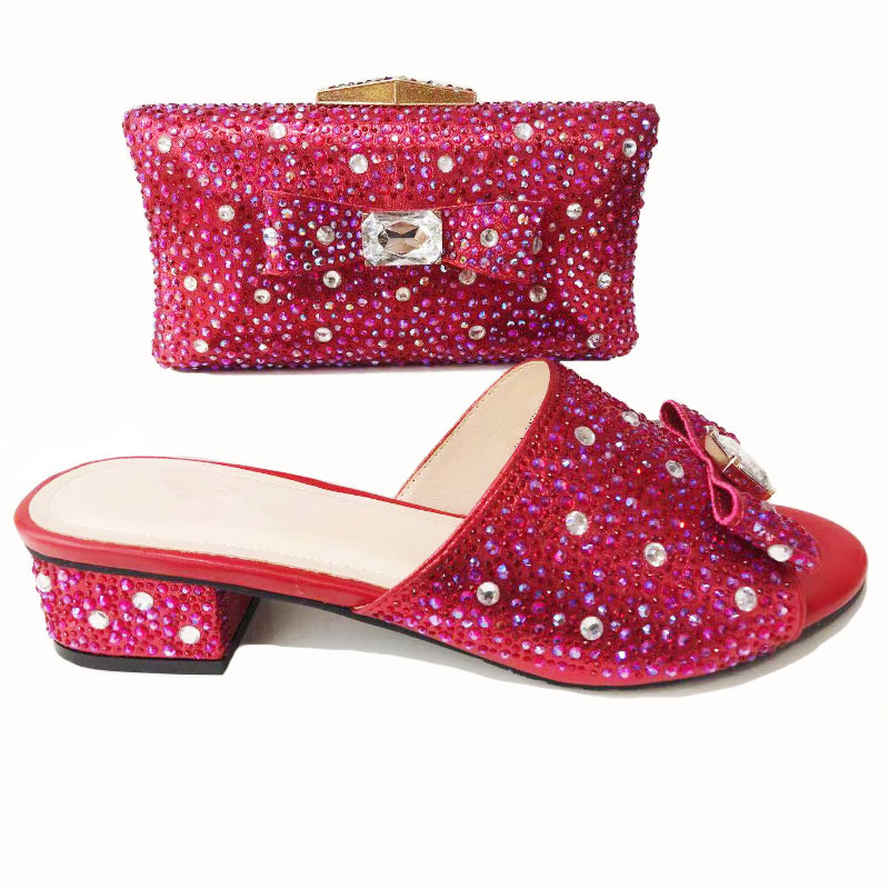 00221-4 Italian Shoe with Matching Bag Set Decorated with Rhinestone African Shoes and Bag Set for Party In Women Italy Shoes wine color italian shoe with matching bag set decorated with rhinestone african shoes and bag set for party in women italy shoes