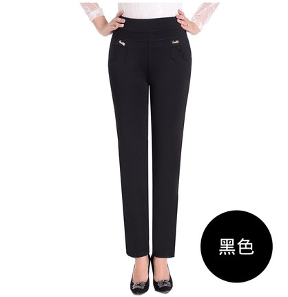 Image 5 - Makuluya 2 buttons withlogo Top Quality 5XL Plus Size Middle old Age Women Trousers High Waist Straight Casual Pants Solid L6-in Pants & Capris from Women's Clothing