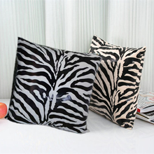60cm Wholesale Super Soft Short Plush Zebra Pattern Soft Cushion Cover 60*60 Throw Pillowcase Home Decor Fashion Pillow Square