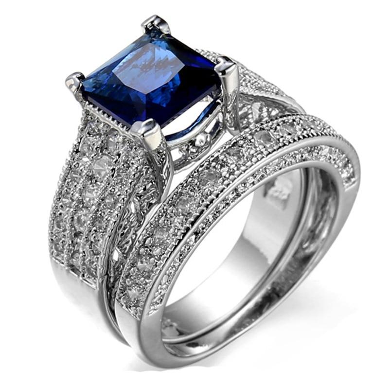 Белое золото-Цвет Micro сине-белые циркон проложить установка безымянный палец установить для Для женщин обручальное кольцо обещание ювелирн...