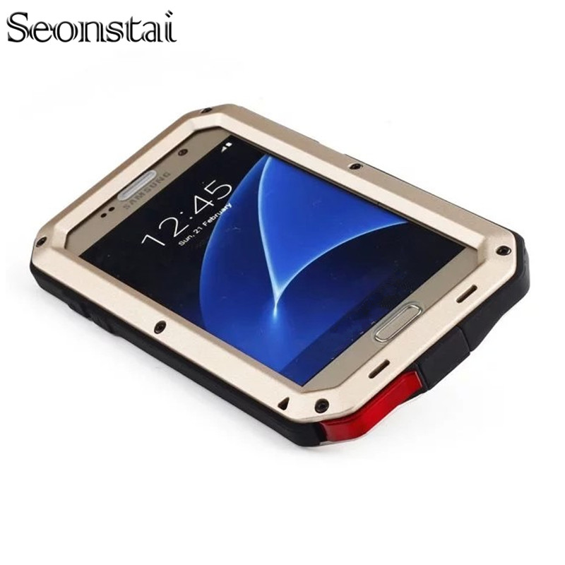 Seonstai Shockproof Tough Hybrid Metal Anti Shock Heavy Duty Armor Case For Samsung Galaxy S6 S8 Plus S7 Edge Note 5 4 3 8 Cover