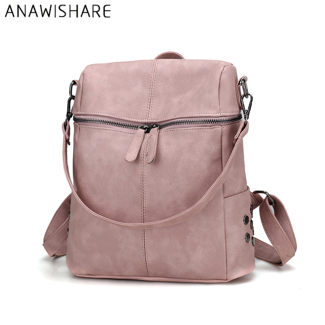 d05608b9f4f0 ANAWISHARE Women Leather Backpack Rivet Daily Backpacks School Bags For Teenagers  Girls Bookbags Travel Bags Mochila Escolar