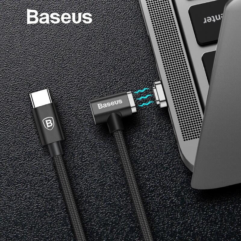 Baseus 86 W USB magnético Cable de tipo C para Macbook codo Cable de carga para Samsung Galaxy S8 S9 PD 3,0 de carga rápida USB Cable