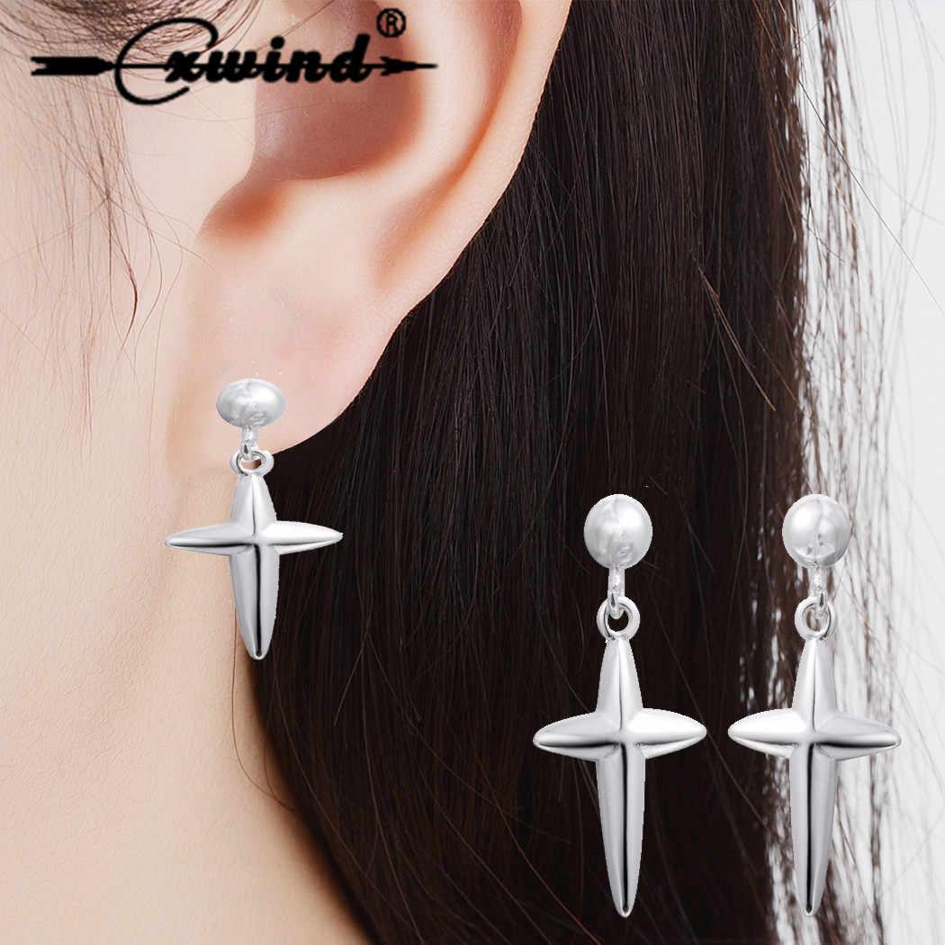 Cxwind 新ファッションクロスブラブライヤリングジュエリー Jesues クロスシャンデリアイヤリングステートメント女性の最高のギフト oorbellen