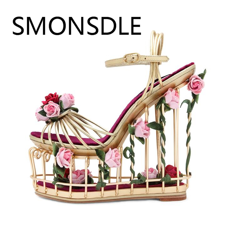 Retro Women Open Toe Sexy Hollow Out Summer Sandals Buckle Strap Metal Flowers Bird Cage Heel Platform Shoes Woman Wedding Shoes fashionable women s sandals with platform and hollow out design