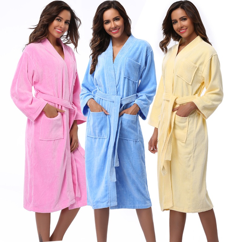 Women Robes 2018 Winter Warm Cotton Sleepwear Kimono Robe Woman Hotel Spa Long Sleeve Soft Plush Bathrobe Solid nightgown Pijama