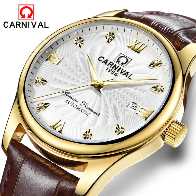 Luxury Automatic Mechanical Men Watch Carnival Top Brand Casual Watches Relogio Masculino Genuine Leather 30m Waterproof Clock лонгслив спортивный under armour under armour un001ebojl17