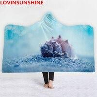 Home Fashions Design Hooded Blanket Throw Beautiful Beach Seascape Starfish And Seashells At The Sandy Beach Colorful Seashells