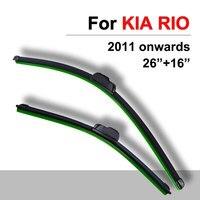 Windscreen Wiper Blades For Kia RIO 26 16 Inch High Quality Natural Rubber Boneless Wipers Window