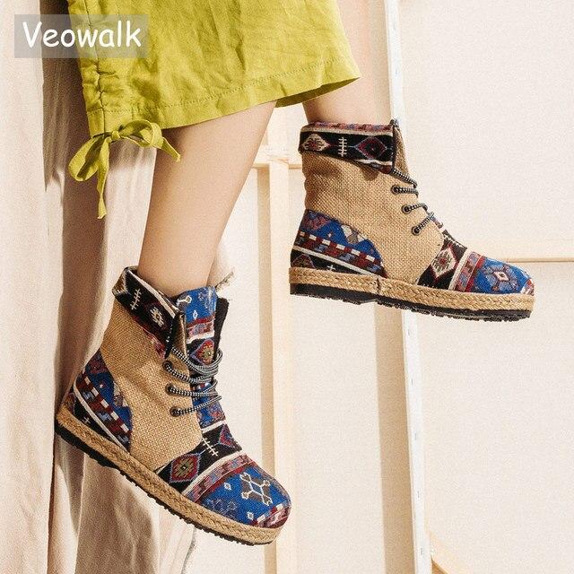 Veowalk Harajuku/женские льняные хлопковые короткие ботильоны с вышивкой; Удобные женские эспадрильи на плоской подошве со шнуровкой; Обувь для веганов