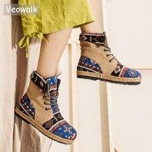 Veowalk原宿刺繍女性リネンコットン半袖アンクルブーツレースアップ女性フラットサンダルブーツビーガン靴