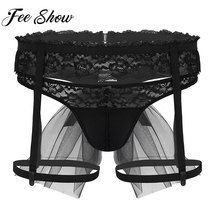 Suspender Briefs Thong Panties Bikini Lingerie Lace G-String Men Sissy Male Garter
