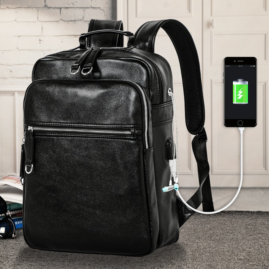 Coofit Anti-theft USB Charging Men's Backpack Casual Leather School Backpacks Black Travel Backpack With USB Charging Port Boys partol usb charging