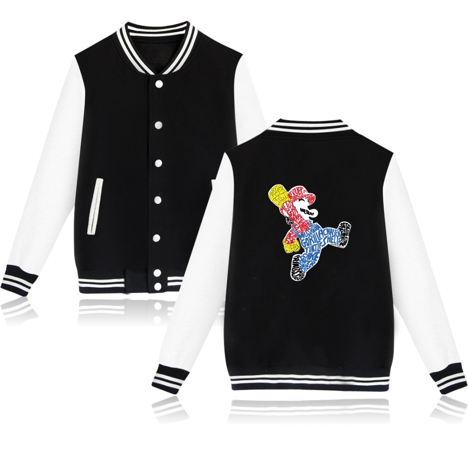 Super MarioRun Cartoon Baseball Capless Hoodies Womens Hip Hop Japanese Game Fashion Black Sweatshirt Women Funny Jacket Clothes