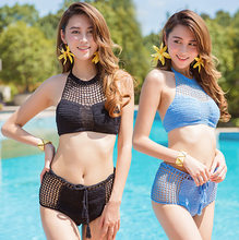 New Hot Spring Swimwear Women s Split Knitted Hollow Korean Swimwear Beach Agent  Provocateur Swimwear(China 3657c1db2