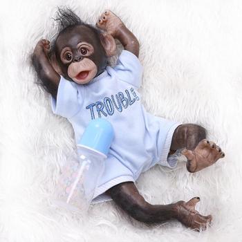 new 40 cm mini Monkey baby reborn Silicone dolls, lifelike Little monkey boy and girl doll reborn toy for children holiday gifts warkings reborn