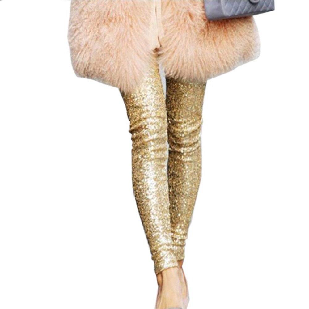 Autumn Women Thin Sequin Leggings Stretchy Slim Paillette Pencil Pants