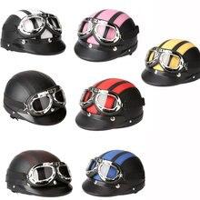 Harley Motorcycle Helmet Bike Bicycle Helmet Scooter Open Face Half Leather Helmet with Visor UV Goggles Retro Vintage Style