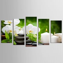 5 Panel Canvas Wall Art Phalaenopsis Flowers Black Stone And White Candles Orchid Poster Home Decorative Painting HD Printed(China)
