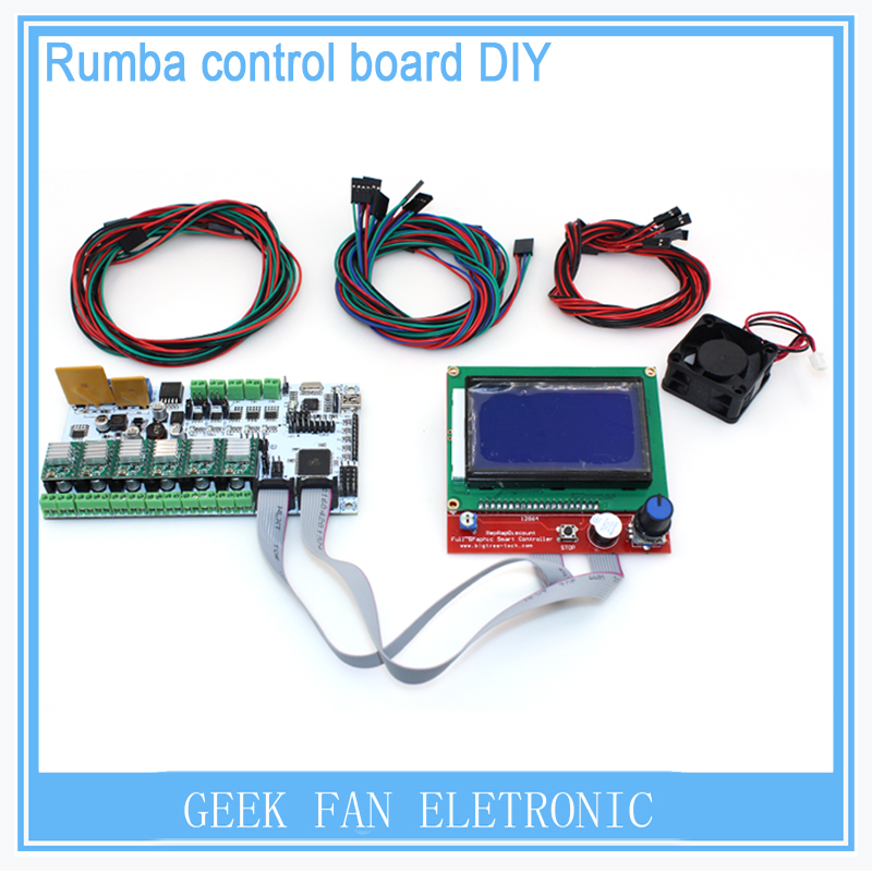 DIY BIQU Rumba 3D printer Rumba control board+LCD 12864 controller display+jumper wire+A4988 or DRV8825 for reprap 3D printer geeetech rumba 3d controller board atmega2560 for mentel reprap prusa 3d printer