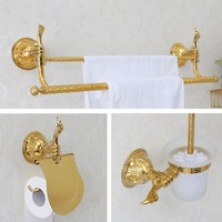 3pcs/set Luxury Gold Solid brass Bathroom hardware accessories Set Double towel rack Towel bar Paper holder Toilet brush holder