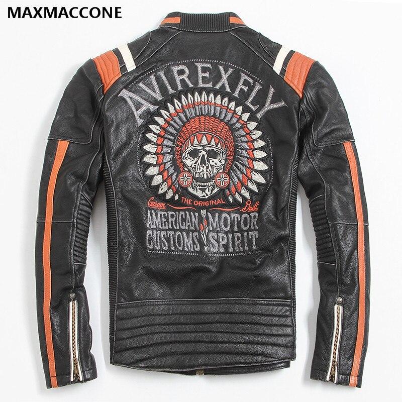 2018 Винтаж Черный для мужчин кожа куртка мотоциклиста череп вышивка плюс размеры 3XL из натуральной коровьей кожи короткие байкерские пальт