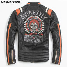 2019 Vintage Black Men Leather Motorcyclist Jacket Skull Embroidery Plus Size 3XL Genuine Cowhide Short Biker Coat FREE SHIPPING(China)