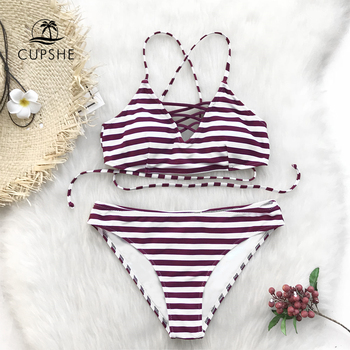 CUPSHE Purple And White Striped Crisscross Lace-Up Bikini Sets Women Sexy Thong Two Pieces Swimsuits 2020 Girl Bathing Suits 3