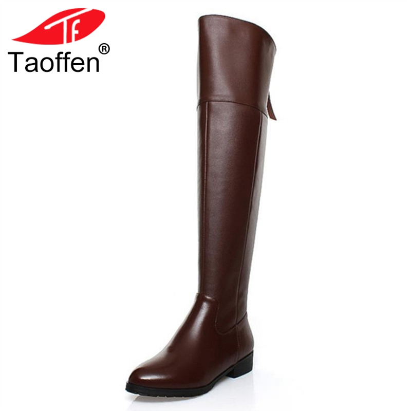 TAOFFEN Free shipping over knee natrual real genuine leather high heel boots women snow winter warm shoes R5017 EUR size 34-43 free shipping over knee high heel boots women snow fashion winter warm footwear shoes boot p15646 eur size 30 49