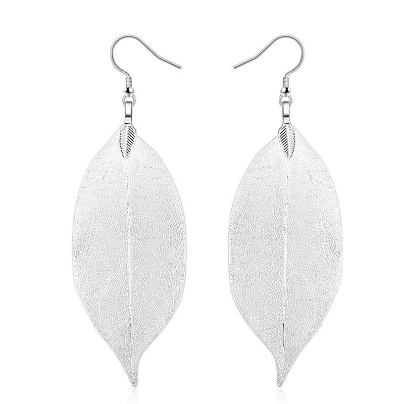 Unique Natural Real Leaf Big  Fashion Long Earrings