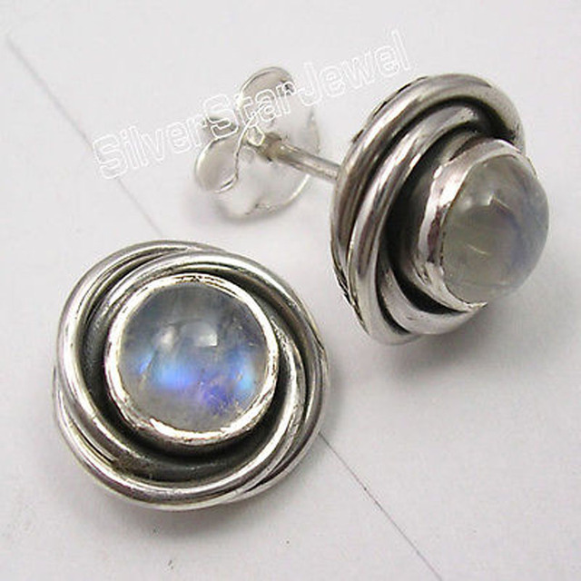 Silver RAINBOW MOONSTONE SPIRAL KNOT Studs Earrings 3/8 inches NEW