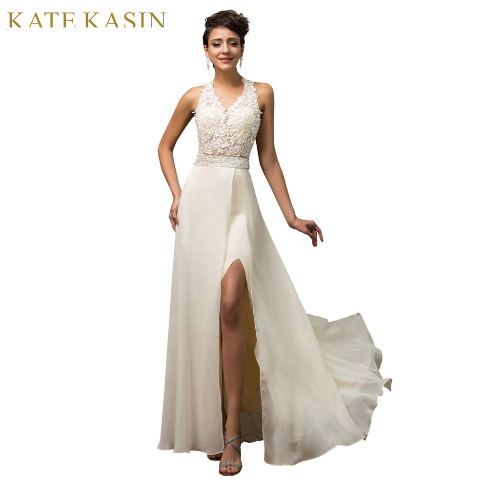 Princess Style Halter Backless Imported Fishtail High Split Korean Wedding Dresses Summer 2017 Sexy Embroidery Brides Gown 7583