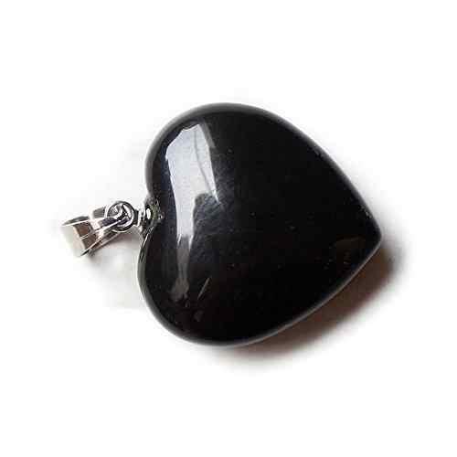 DreamBellธรรมชาติT Umbledเรกิบำบัดจักรลูกปัดหัวใจเสน่ห์ลูกตุ้มจี้หินหลัก:สีดำนิล