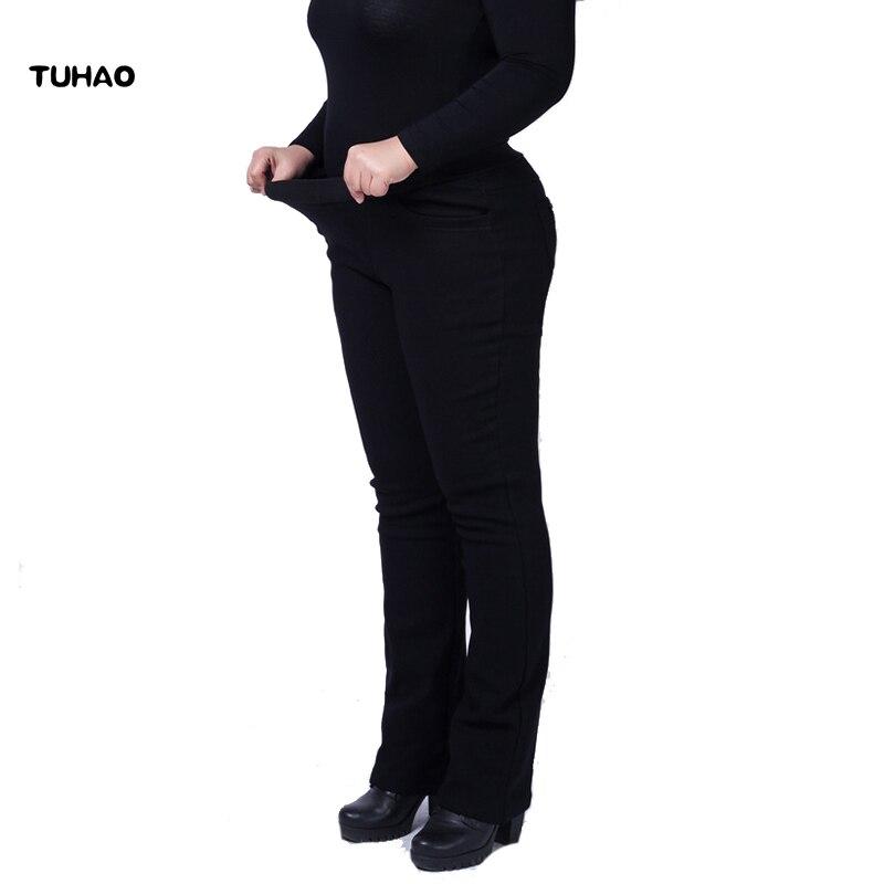 TUHAO  Spring Plus Size 5xl 4xl 3xl Women's Pants High Waist Pants Black Navy Female Elastic Trousers Pant YH21